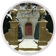A Snow Covered Pathway Leading To A Mansion Round Beach Towel