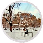 A Snow Day In Central Park Round Beach Towel