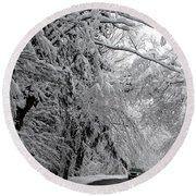 A Snowy Drive Through Chestnut Ridge Park Round Beach Towel