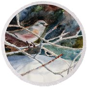 A Snowy Perch Round Beach Towel