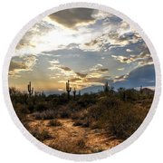 A Sonoran Desert Sunset  Round Beach Towel