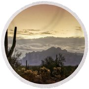 A Sonoran Morning  Round Beach Towel