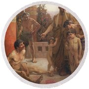 A Spartan Points Out A Drunken Slave To His Sons Round Beach Towel