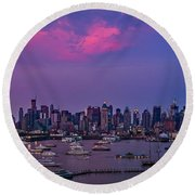 A Spectacular New York City Evening Round Beach Towel by Susan Candelario
