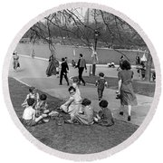 A Spring Day In Central Park Round Beach Towel