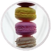 A Stack Of Macaroons Round Beach Towel