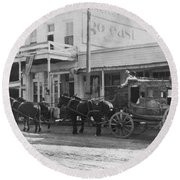 A Stagecoach In Tombstone Round Beach Towel