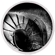 A Stairwell In The Catacombs Of Paris France Round Beach Towel