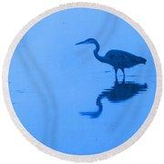 A Stalking Heron Round Beach Towel