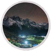 A Starry Night In Laigu Village, Tibet Round Beach Towel