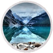 A Still Day At Lake Louise Round Beach Towel