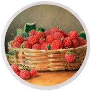 A Still Life Of Raspberries In A Wicker Basket  Round Beach Towel