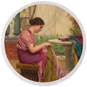 A Stitch Is Free Or A Stitch In Time 1917 Round Beach Towel by John William Godward