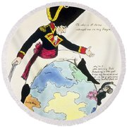 A Stoppage To A Stride Over The Globe, 1803 Litho Round Beach Towel