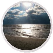 A Storm Is Brewing Over The Gulf Coast Round Beach Towel