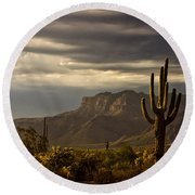 A Stormy Evening In The Superstitions  Round Beach Towel