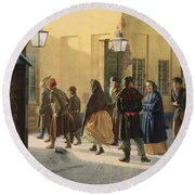 A Street Scene, Outside A Prison, 1868 Oil On Canvas Round Beach Towel