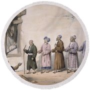 A String Of Blind Beggars, Cabul, 1843 Round Beach Towel