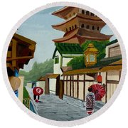 A Stroll In Old Kyoto Round Beach Towel