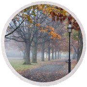 A Stroll In Salem Fog Round Beach Towel