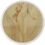 A Study For The Birth Of Love Round Beach Towel