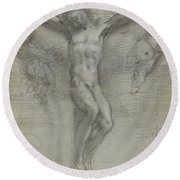 A Study Of Christ On The Cross With Two Round Beach Towel