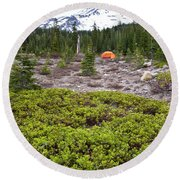 A Summer Day Camping At The Foot Of Mt Round Beach Towel