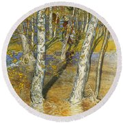 A Summer Day On A Norwegian Fjord Round Beach Towel by Hans Dahl