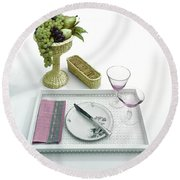 A Summer Table Setting On A Tray Round Beach Towel