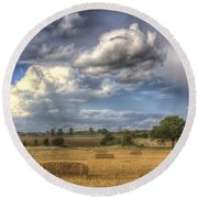 A Summers Evening Farm Round Beach Towel