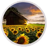 A Sunflower Moment Round Beach Towel
