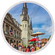 A Sunny Afternoon In Jackson Square Oil Round Beach Towel by Steve Harrington