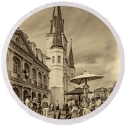 A Sunny Afternoon In Jackson Square Sepia Round Beach Towel