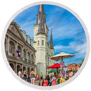 A Sunny Afternoon In Jackson Square Round Beach Towel