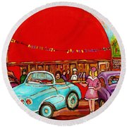 A Sunny Day At The Big Oj- Paintings Of Orange Julep-server On Roller Blades-carole Spandau Round Beach Towel