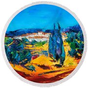 A Sunny Day In Provence Round Beach Towel