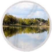 A Sunny Day's Reflections At The Lake House Round Beach Towel