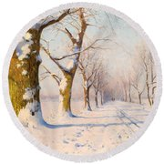 A Sunny Winter's Day Round Beach Towel