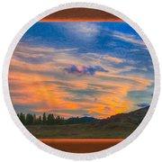 A Surprise Sunset Visit Landscape Painting Round Beach Towel