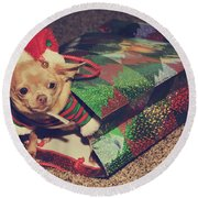 A Sweet Christmas Surprise Round Beach Towel by Laurie Search