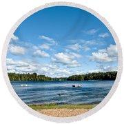 A Swim In The Lake Round Beach Towel