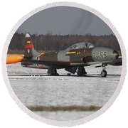 A T-33 Shooting Star Trainer Jet Round Beach Towel
