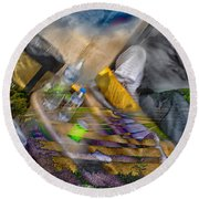 A Tale Of Two Worlds Round Beach Towel
