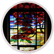 A Tale Of Windows And Magical Landscapes Round Beach Towel