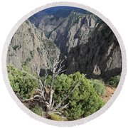 A Thunderstorm Is Approaching Over The Black Canyon Round Beach Towel
