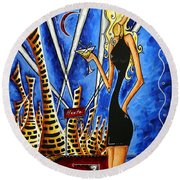 A Toast To The Little Black Dress By Madart Round Beach Towel