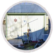 A Tool Shed In The Back Yard Round Beach Towel