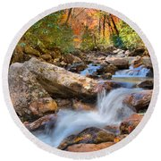 A Touch Of Autumn At Skinny Dip Falls Round Beach Towel