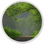 A Touch Of Green Round Beach Towel
