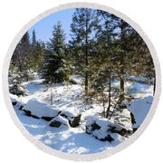 A Touch Of Snow Round Beach Towel